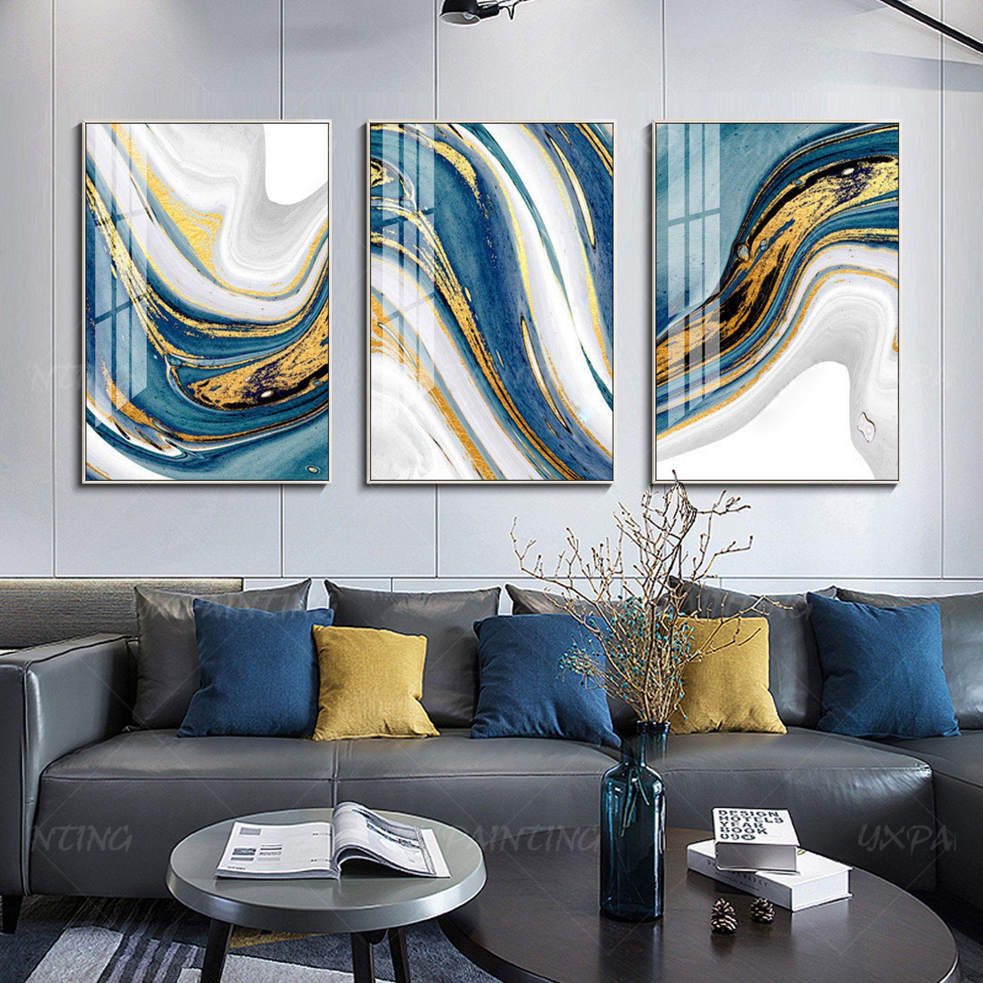 Park Art|My WordPress Blog_Blue And Gold Wall Art Canvas
