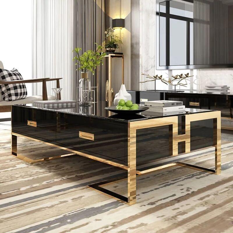Park Art My WordPress Blog_Black Rectangle Coffee Table With Shelf