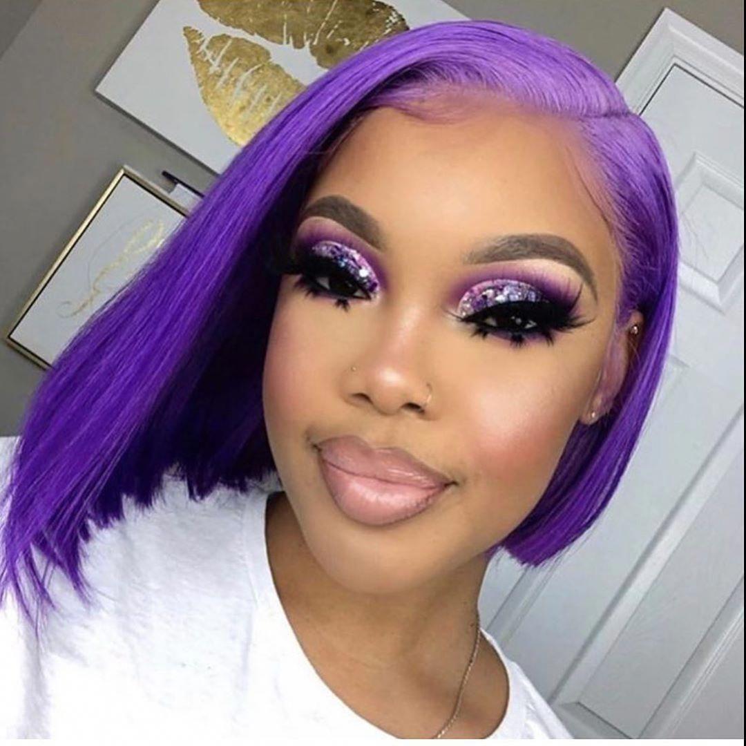Park Art|My WordPress Blog_Purple Human Hair Wig Short